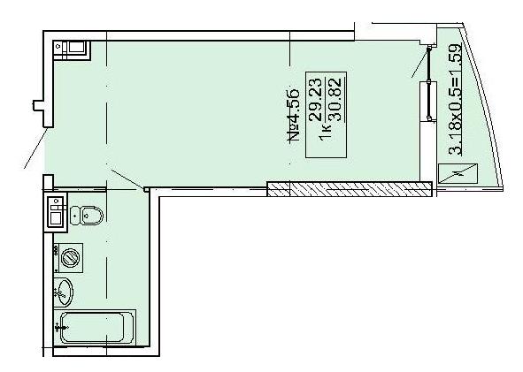 ЖК Корфу Однокомнатная Площадь 30,47 кв.м Планировка