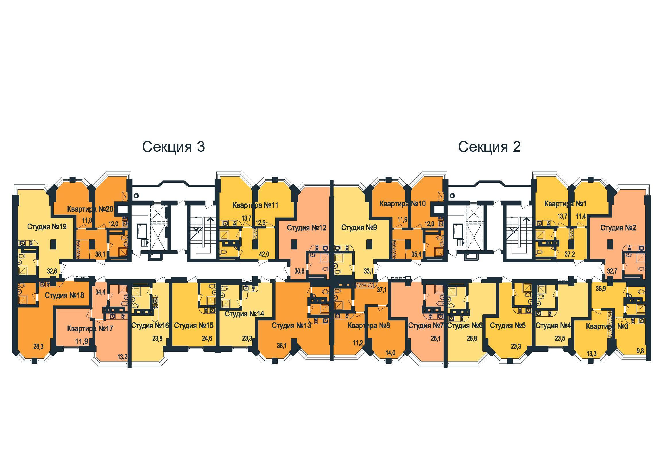 ЖК Новая Европа Секция 2-3 План 12 этажа