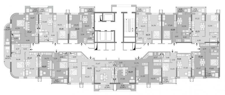 ЖК Таировские Сады Секция 6 Планировка 12-15 этажа