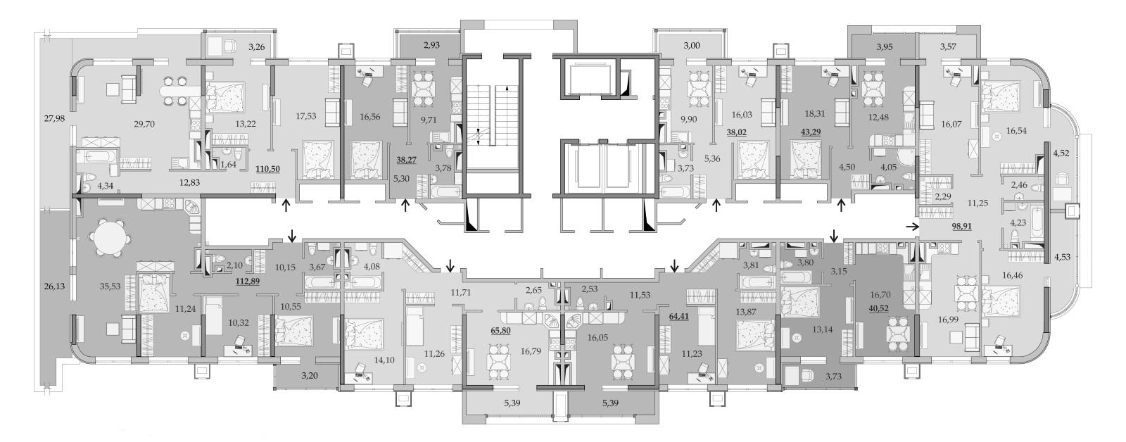 ЖК Таировские Сады Секция 1 Планировка 15 этажа