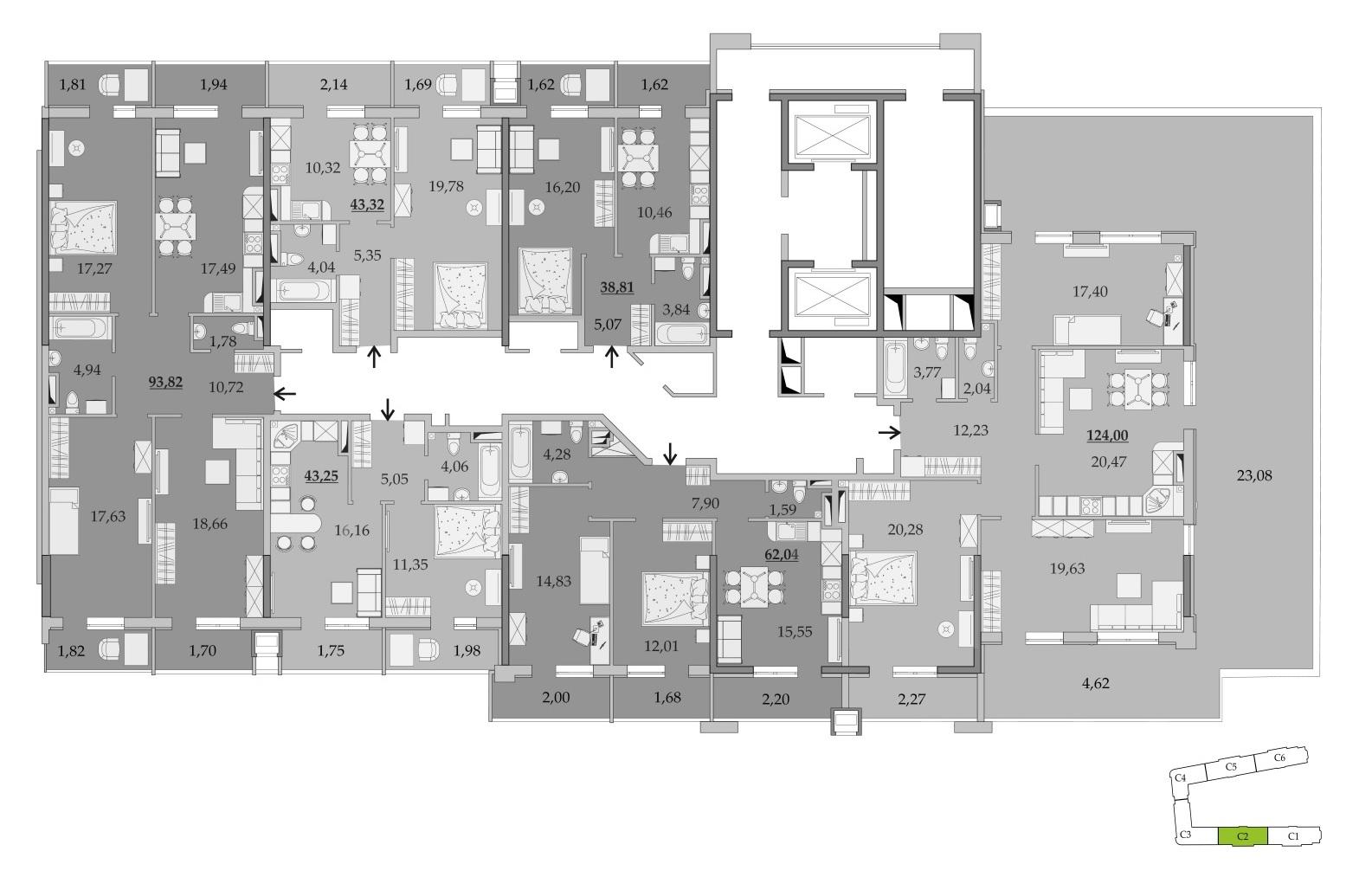 ЖК Таировские Сады Секция 2 Планировка 15 этажа
