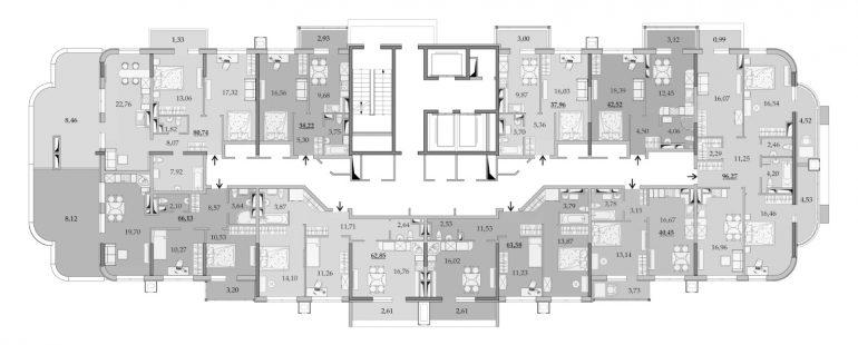 ЖК Таировские Сады Секция 1 Планировка 16 этажа