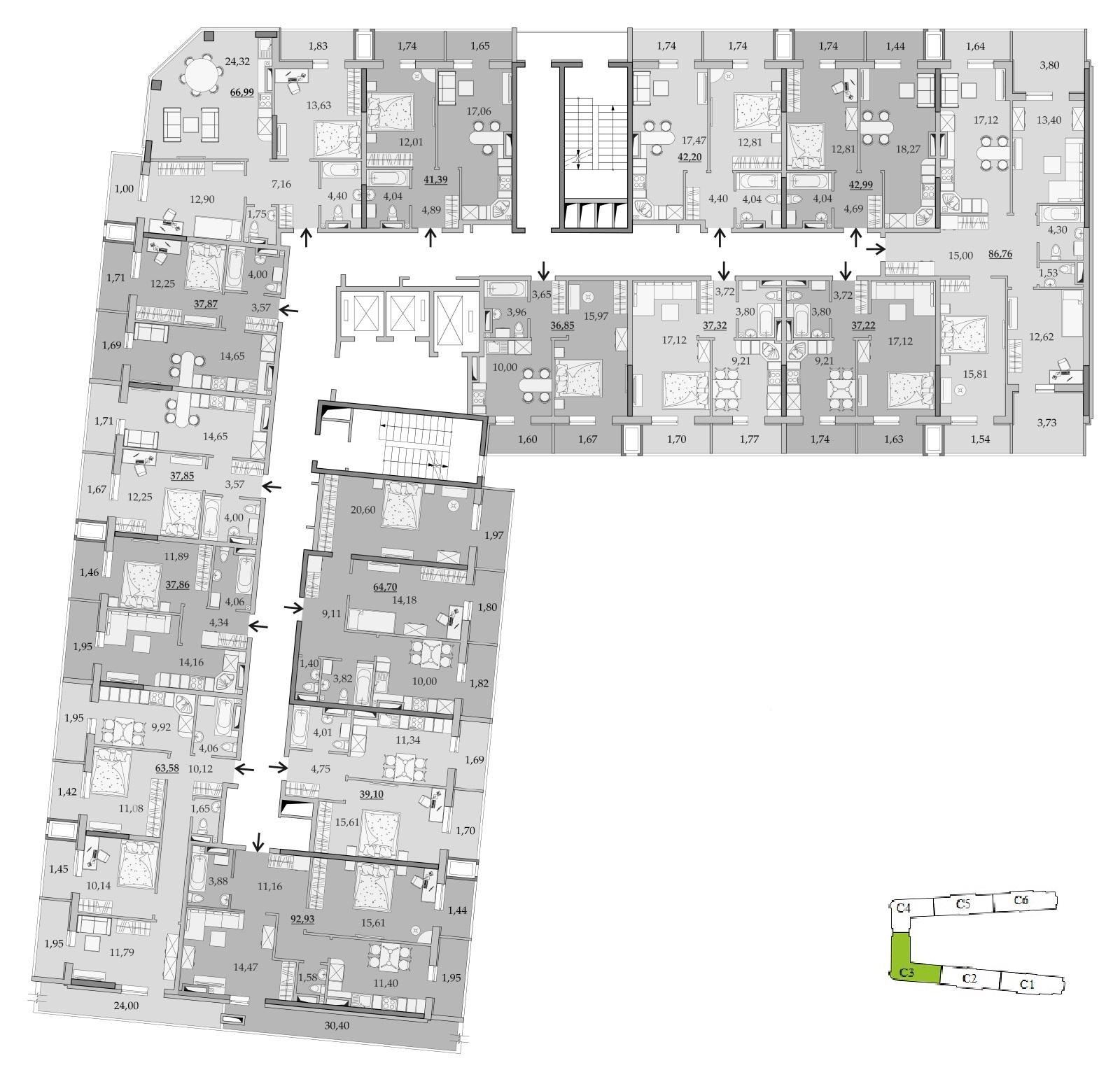 ЖК Таировские Сады Секция 3 Планировка 16 этажа