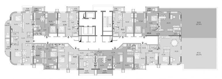 ЖК Таировские Сады Секция 6 Планировка 16 этажа