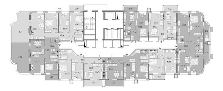 ЖК Таировские Сады Секция 1 Планировка 17 этажа