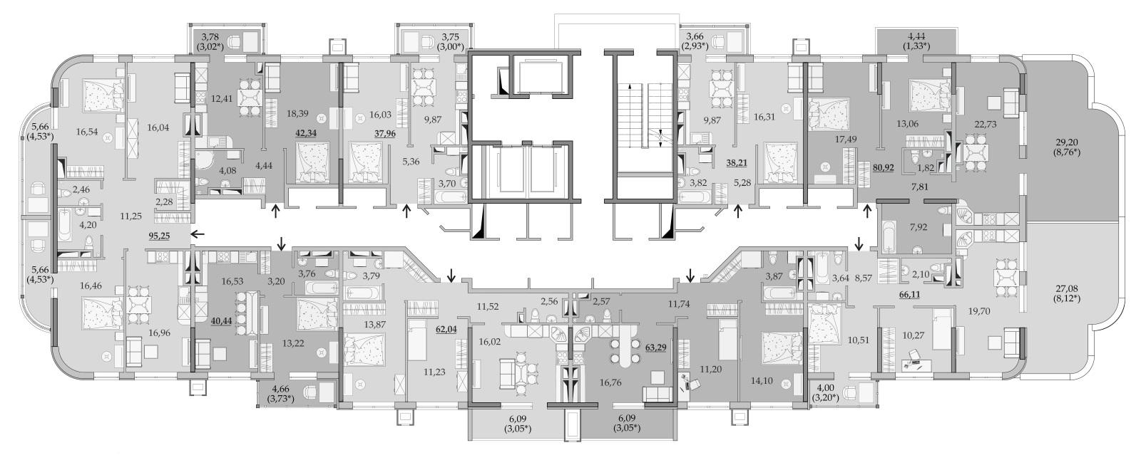 ЖК Таировские Сады Секция 6 Планировка 17 этажа