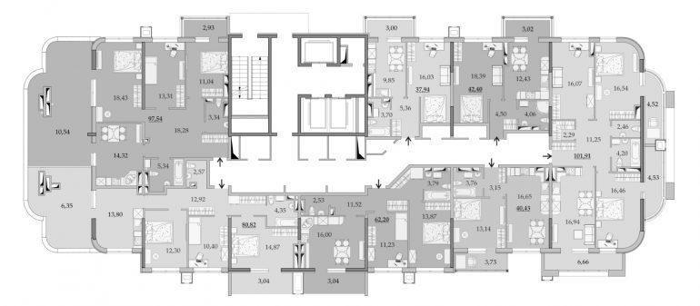 ЖК Таировские Сады Секция 1 Планировка 18 этажа