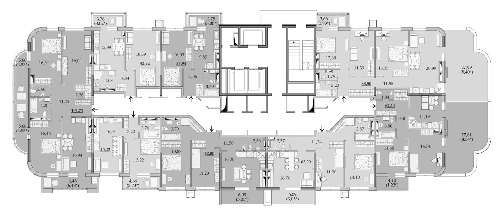 ЖК Таировские Сады Секция 6 Планировка 18 этажа