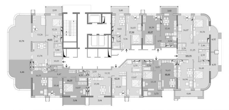 ЖК Таировские Сады Секция 1 Планировка 19 этажа