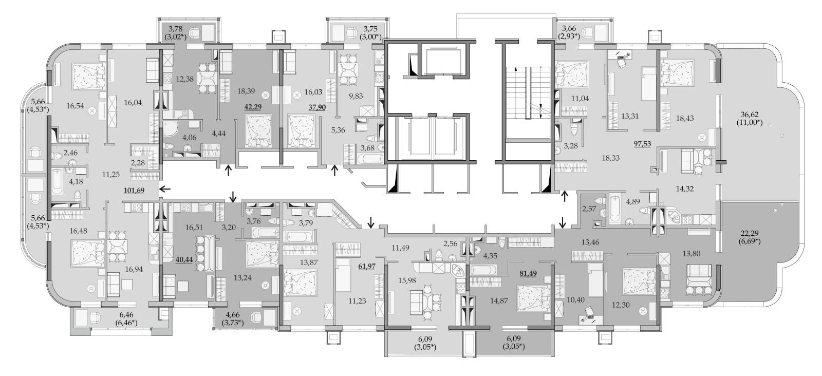 ЖК Таировские Сады Секция 6 Планировка 19 этажа
