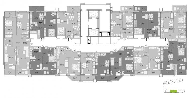 ЖК Таировские Сады Секция 2 Планировка 2-14 этажа