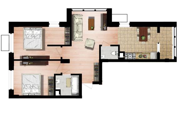 ЖК Маршал Сити 5 секция Двухкомнатная Площадь 65,99 кв.м Планировка 2Д
