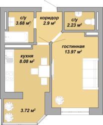 ЖК Акварель Однокомнатная Площадь 34,58 кв.м Планировка 3