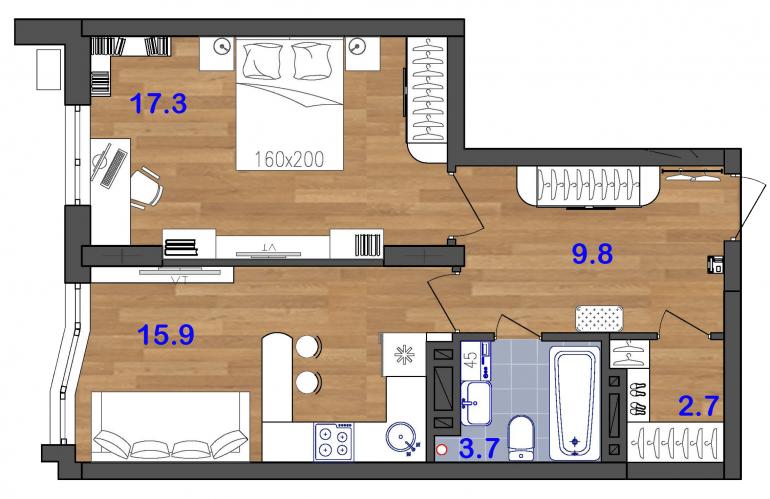 48 ЖК Сан Сити Однокомнатная Площадь кв.м Планировка 2