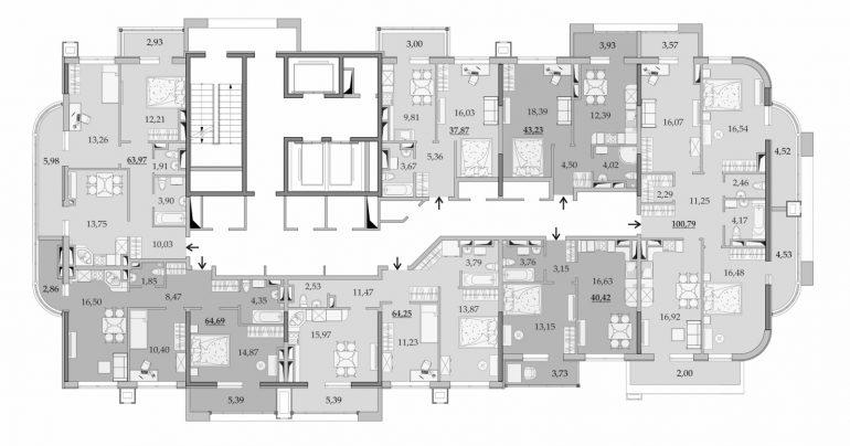 ЖК Таировские Сады Секция 1 Планировка 20 этажа