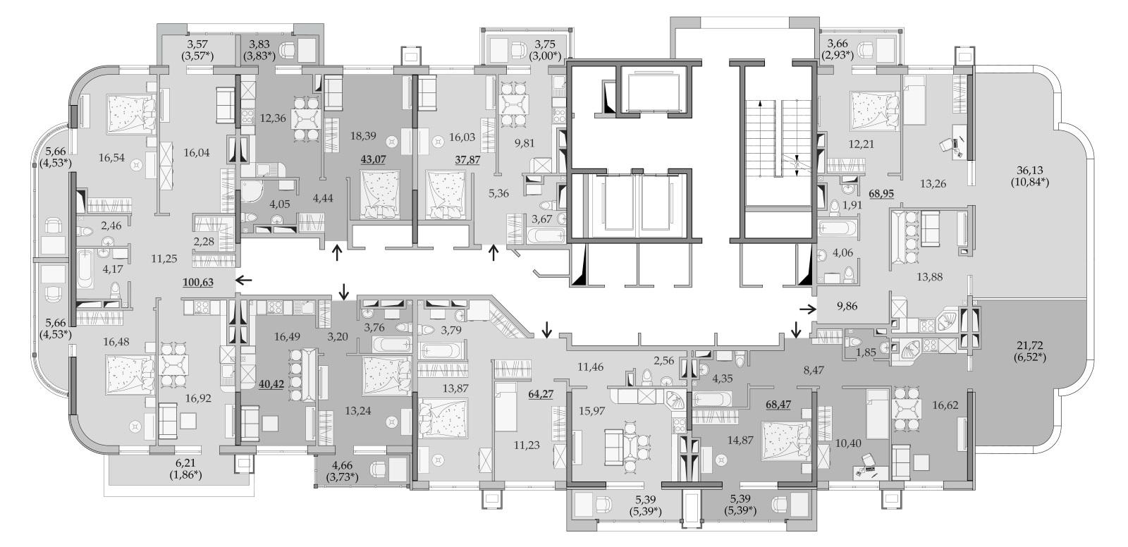 ЖК Таировские Сады Секция 6 Планировка 20 этажа