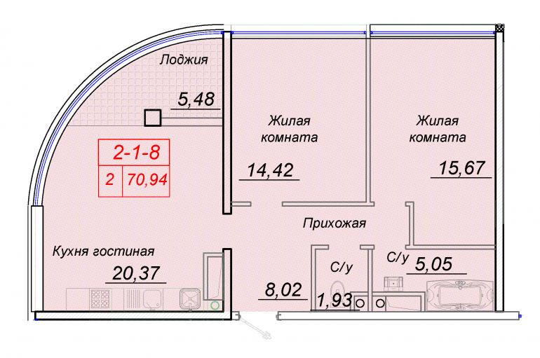 ЖК 44 Жемчужина Двухкомнатная Площадь 70,94 кв.м