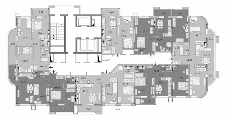 ЖК Таировские Сады Секция 1 Планировка 21-23 этажа