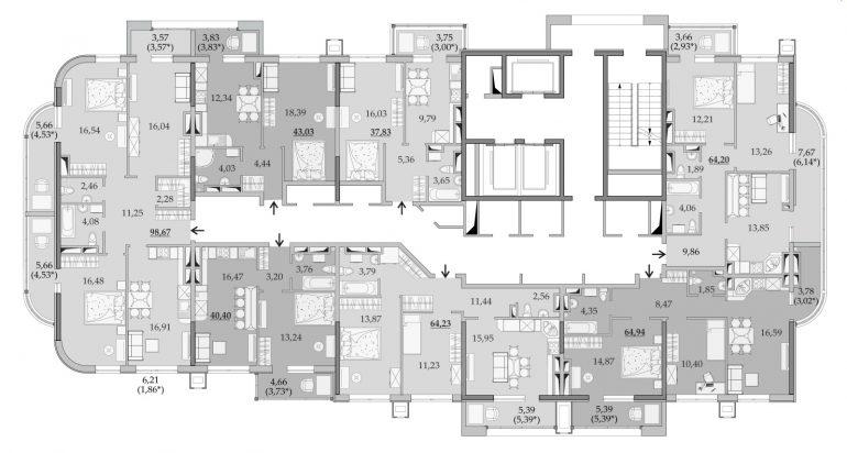 ЖК Таировские Сады Секция 6 Планировка 21-23 этажа
