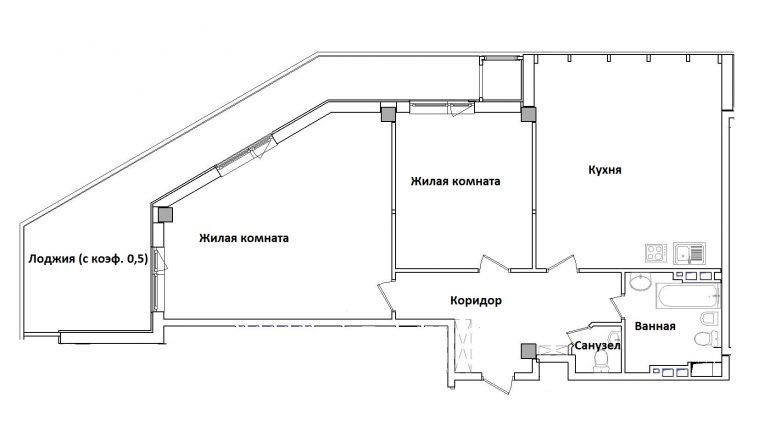 ЖК Гринвуд Двухкомнатная Площадь 112,85 кв.м Планировка