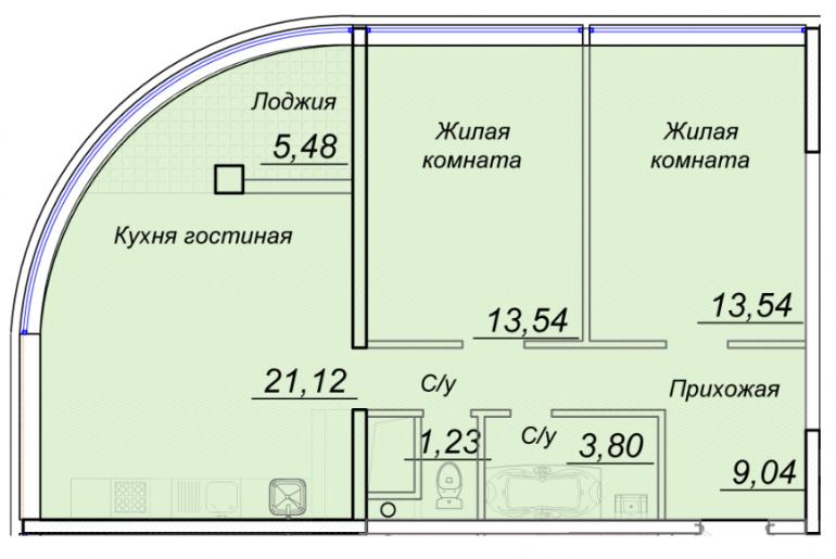 ЖК 44 Жемчужина Двухкомнатная 70,03 кв.м Планировка