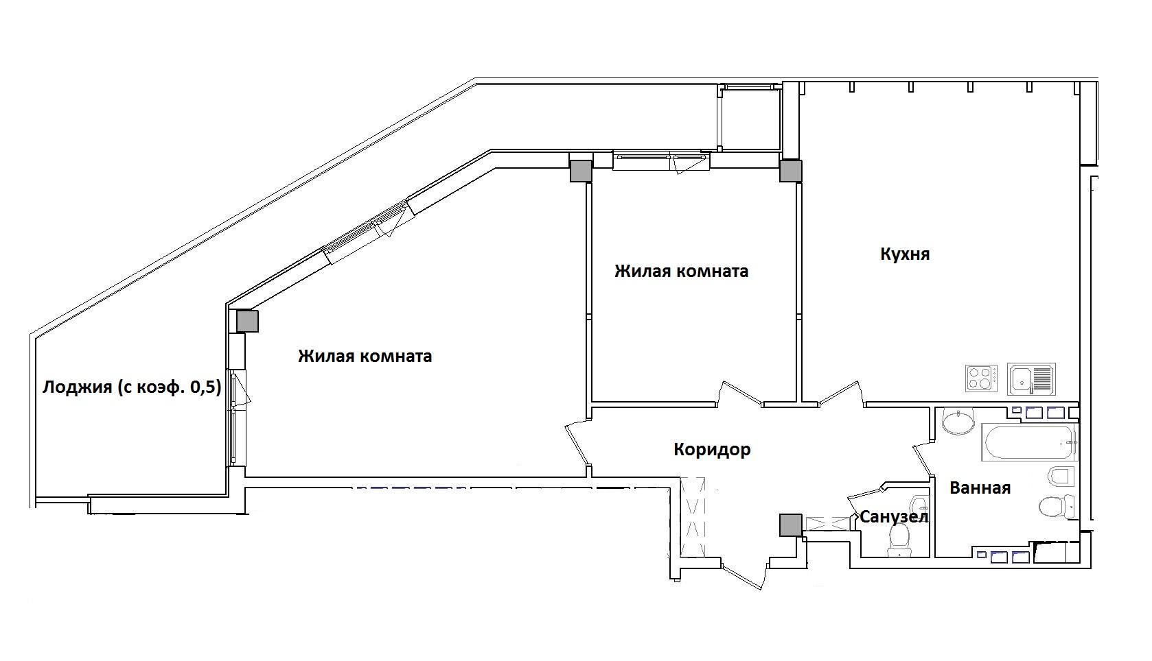 Двухкомнатная - ЖК GreenWood (Гринвуд)ПроданаПлощадь:112,85m²