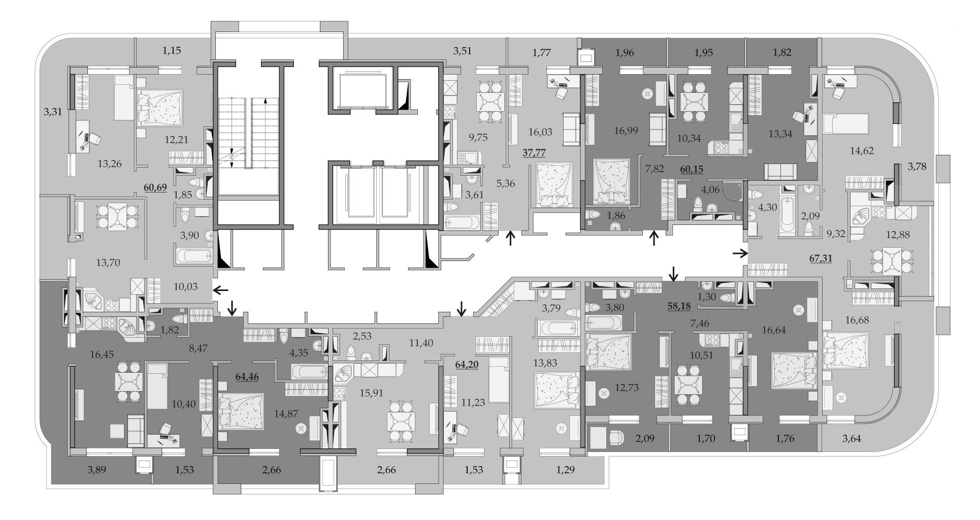ЖК Таировские Сады Секция 1 Планировка 24 этажа