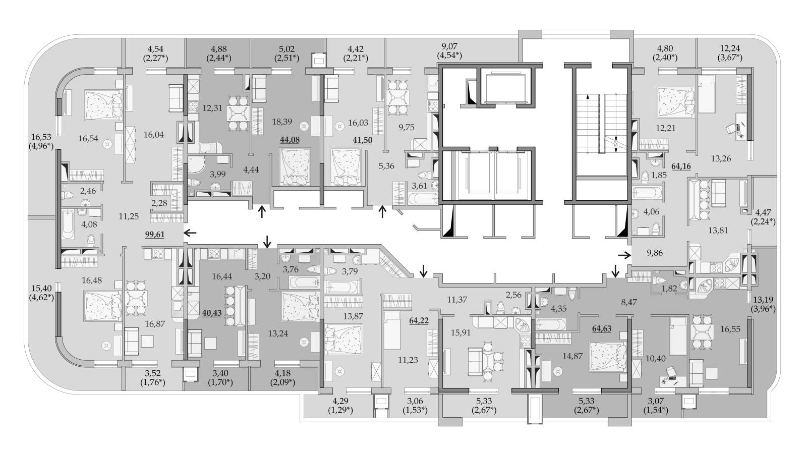 ЖК Таировские Сады Секция 6 Планировка 24 этажа