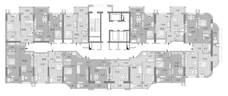 ЖК Таировские Сады Секция 1 Планировка 2-14 этажа