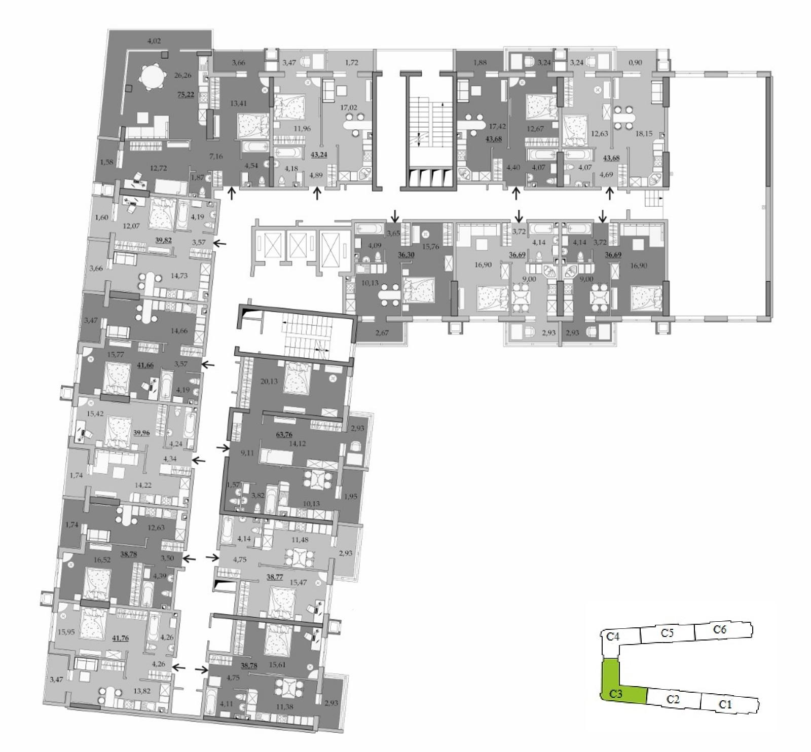 ЖК Таировские Сады Секция 3 Планировка 2 этажа