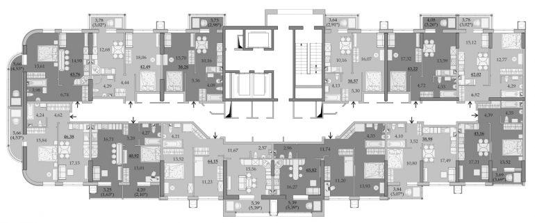 ЖК Таировские Сады Секция 6 Планировка 2-6 этажа