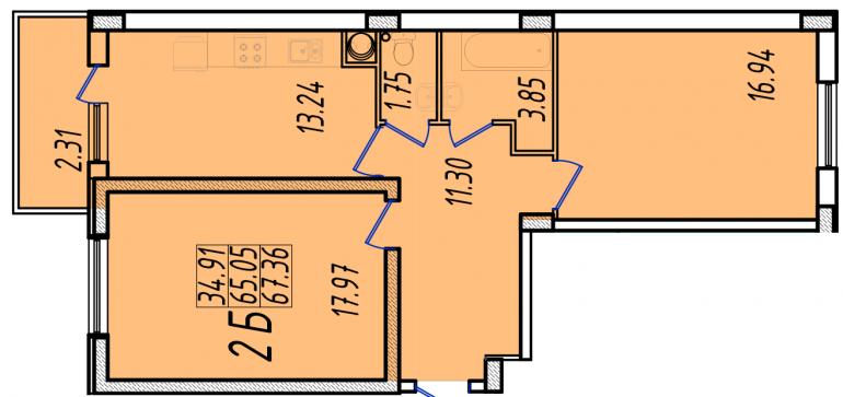 68,4 кв.м ЖК Маршал Сити 1 секция Двухкомнатная Площадь Планировка