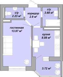 ЖК Акварель Однокомнатная Площадь 34,58 кв.м Планировка 4