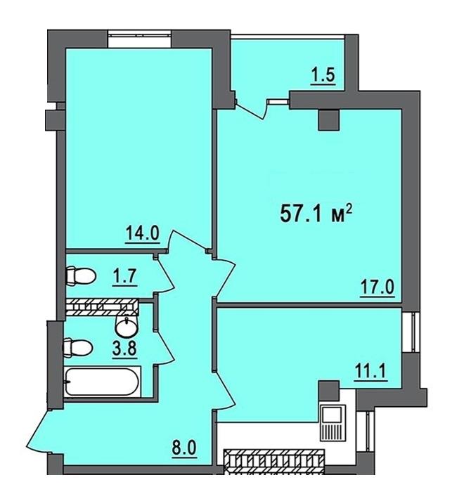 58 кв.м Дом на Запорожской Двухкомнатная №3 Планировка