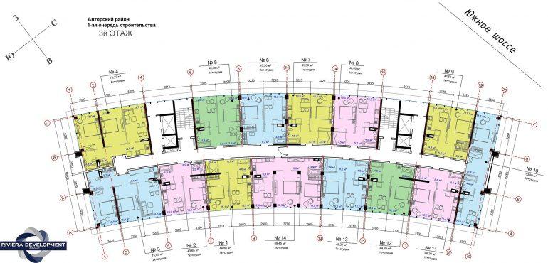 ЖК Авторский район 1 очередь Планировка 3 этажа