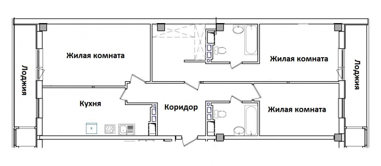 ЖК Гринвуд Трехкомнатная Площадь 108,6 кв.м Планировка