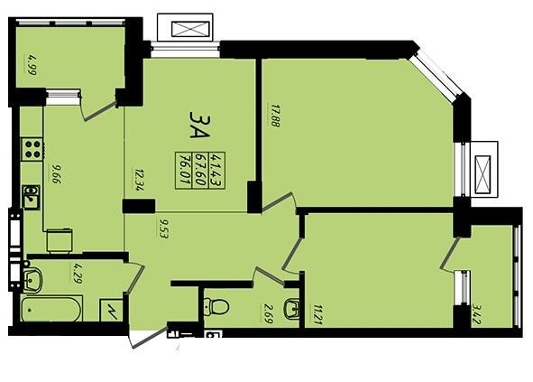 ЖК Маршал Сити 1 секция Трехкомнатная Площадь 76,07 кв.м Планировка