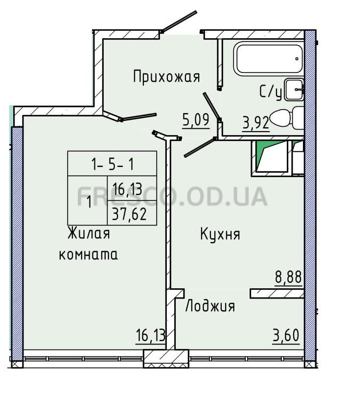 Однокомнатная - ЖК 44 Жемчужина (Сорок четвертая)ПроданаПлощадь:37,29m²