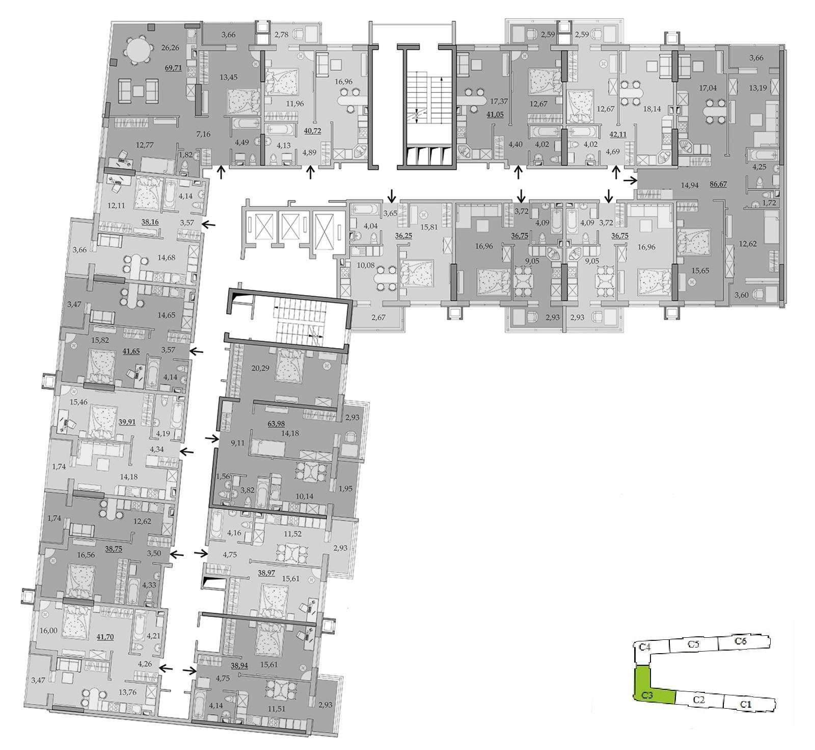 ЖК Таировские Сады Секция 3 Планировка 3-15 этажа