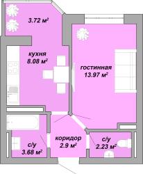 36,4 кв.м ЖК Акварель Однокомнатная Площадь Планировка 1
