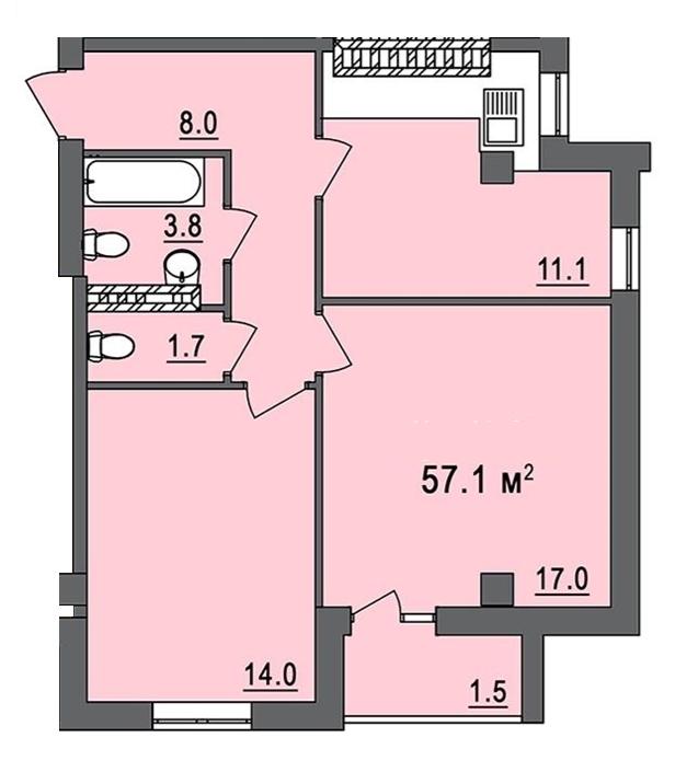 Дом на Запорожской Двухкомнатная №4 56,1 кв.м Планировка