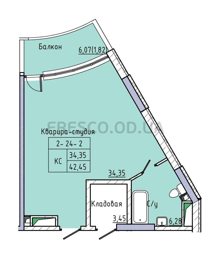 Однокомнатная - ЖК 44 Жемчужина (Сорок четвертая)$50205Площадь:42,8m²