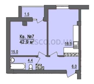 Однокомнатная - Дом на ЗапорожскойПроданаПлощадь:44,5m²
