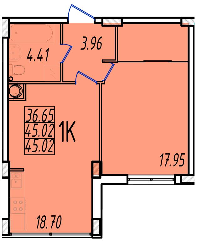 ЖК Маршал Сити 2 секция Однокомнатная кв №5 Площадь 42,62 кв.м Планировка