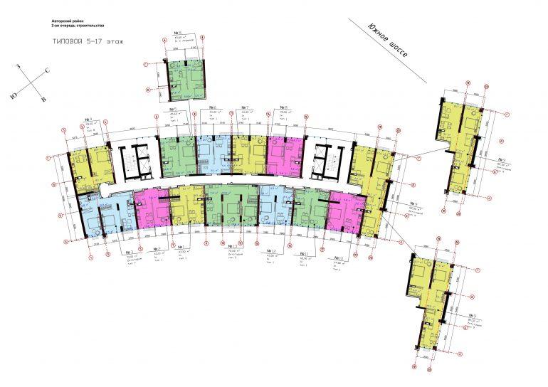 ЖК Авторский район Планировка 5-17 этажа