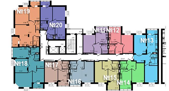 ЖК Маршал Сити / Секция 3 / План типового этажа