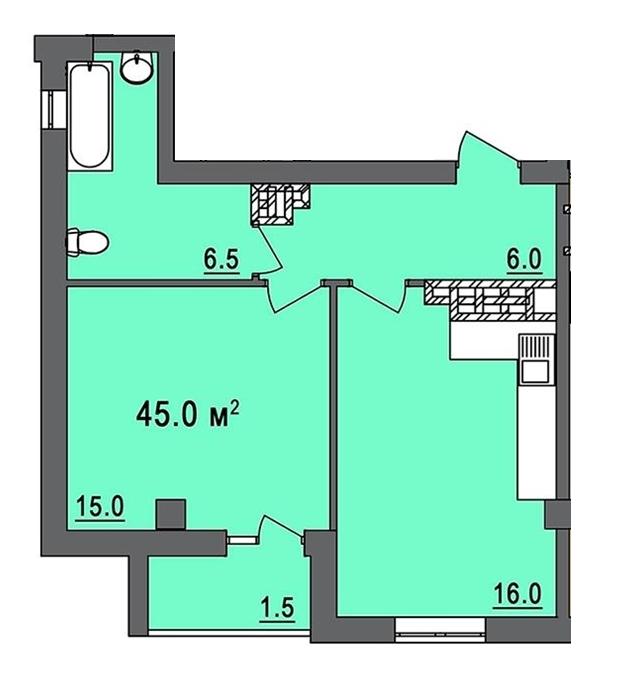 Дом на Запорожской Однокомнатная №6 45 кв.м Планировка