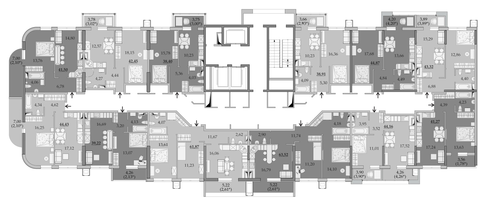 ЖК Таировские Сады Секция 6 Планировка 7-8 этажа