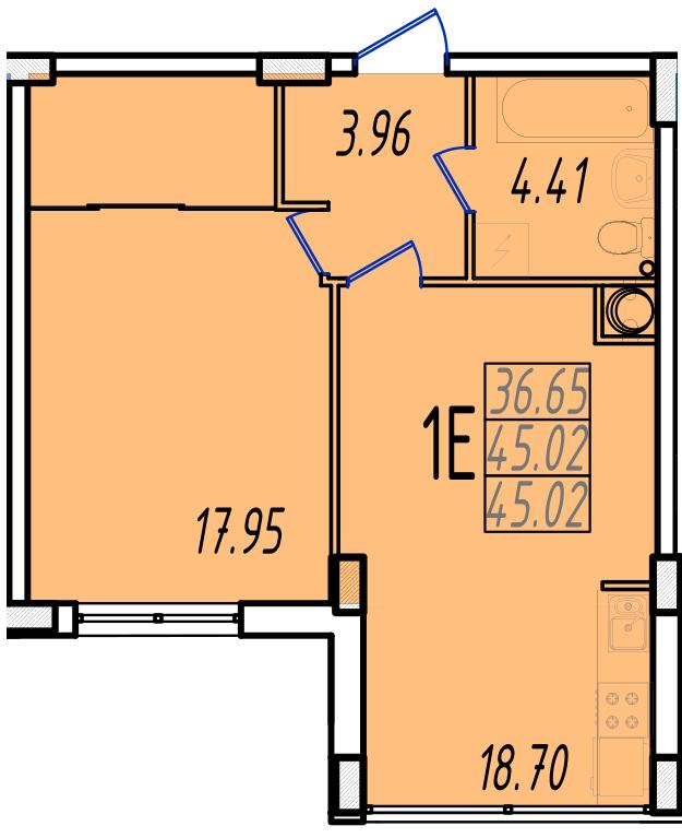 ЖК Маршал Сити 2 секция Однокомнатная кв №8 Площадь 43 кв.м Планировка