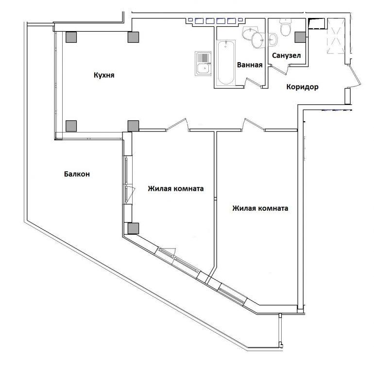 ЖК Гринвуд Двухкомнатная Площадь 89,4 кв.м Планировка